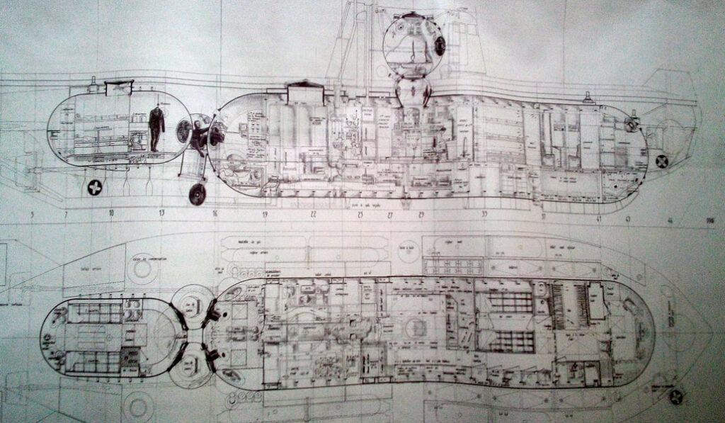 Plan de coupe du sous-marin SAGA - AixPlo février 2020